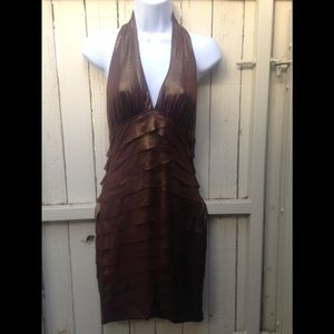 BEBE Gold Copper sleeveless dress size 6